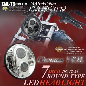ヘッドライト LED 7インチ 1個 CREE/6500K/2800lm ラウンドタイプ/12V/24V/インナークローム シルバー/ハーレー/ジープ/ジムニー/JA 系/_52177|ksplanning