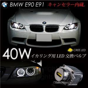 BMW E90 E91 2006〜 イカリング LEDバルブ/交換用 40W CREE ホワイト キャンセラー 3シリーズ/ヘッドライト/白 _59582(59582)|ksplanning