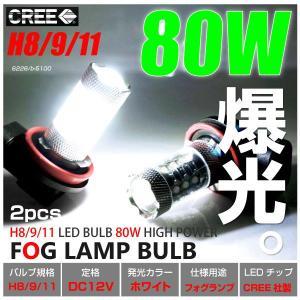 H8 H9 H11 LED ホワイト フォグランプ バルブ 爆光 CRRE 80W 6000K 12V 2個 プロジェクターレンズ フォグライト 拡散 あす つく _27162|ksplanning