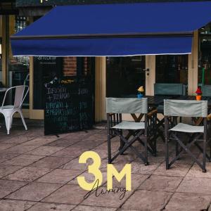 オーニングテント 幅3m×張出2m 青 ブルー 黒フレーム 折り畳み 伸縮 巻き上げ式 雨よけ 日除けテント□ _71119|ksplanning