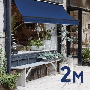 オーニングテント 幅2m×張出1.5m 青 ブルー 黒フレーム 折り畳み 伸縮 巻き上げ式 雨よけ  日除けテント □_71120|ksplanning