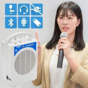 ワイヤレスマイクセット 15W 軽量 MP3再生 録音機能 カラオケ マイクアンプ ヘッドセット ピ...