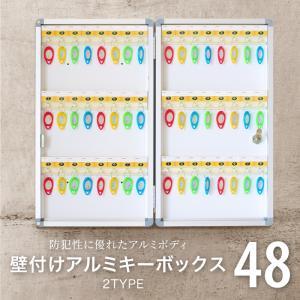 キーボックス 壁掛け 48本 収納 アルミ製 セキュリティー キーケース 青/黄 鍵 鍵保管 あすつく対応 @74073|ksplanning