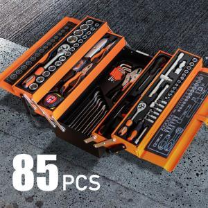 工具セット 85点 高強度 クロムバナジウム製 3段 ツールボックス 工具箱 家庭用 業務用 タイヤ...