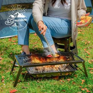 グリルスタンド テーブル キャンプ アウトドア スチールテーブル 折りたたみ 網 BBQ バーベキュ...