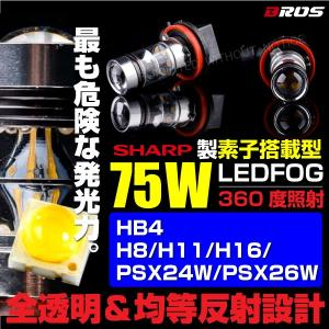フォグランプ LED/バルブ H8/H11/H16 HB4 PSX24W PSX26W 75W/SHARP製素子 2個 12V/24V ホワイト/白/汎用/フォグバルブ/フォグライト @a440