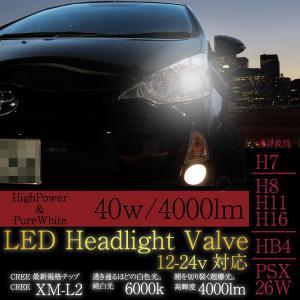 LED CREE ヘッドライト バルブ 40W 4000lm HB4 H7 H8 H11 H16 PSX26W 12V/24V 2個 6000K 4000ルーメン XM-L2 @a518|ksplanning