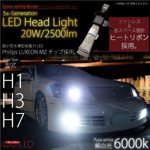 LED 20W 2500lm 6000K H1 H3 H7 ホワイト バルブ ヘッドライト 純白光 12V/24V 左右 ヒートリボン 超小型 薄型 2500ルーメン @a519|ksplanning