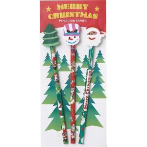 クリスマス消しゴム付鉛筆(3本セット)サンタ スノーマン ツリー 景品