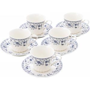飽きのこないブルー系の小花柄がかわいい碗皿。●現品(カップ)約8.5φ×7cm・(ソーサー)約14....