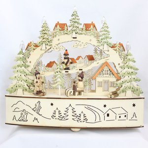 クリスマス 置物 雑貨 ウッドLEDキャンドル付きクリスマスシーンD オブジェ 木|kss-s