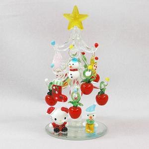クリスマス オブジェ ハロー キティ ガラスツリー(アップル)オーナメント かわいい キャラクター|kss-s