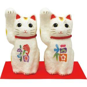 ちぎり和紙 彩招福 招き猫 (小) 置物 縁起物|kss-s