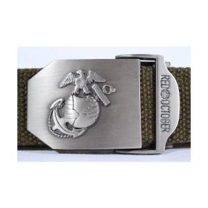 ミリタリーベルト GIベルト OD オリーブドラブ USMC アメリカ海兵隊 紋章入り kstacticalshop