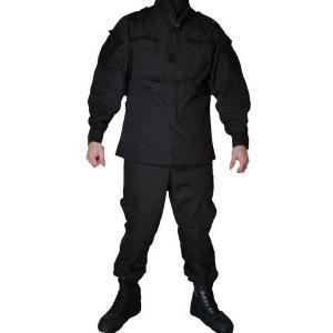 迷彩服 ベロクロ付 SWAT仕様 特殊火器戦術部隊 上下セット 戦闘服 黒色 ブラック|kstacticalshop