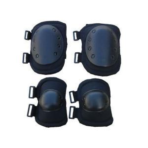 ブラック エルボーパッド & ニーパッド プロテクター 黒色 1人分セット|kstacticalshop