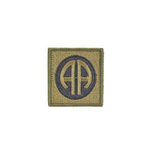 アメリカ陸軍 第82空挺師団 オールアメリカン AA エアボーン 部隊章 ワッペン パッチ ベルクロ付 マジックテープ付 オリーブドラブ OD|kstacticalshop