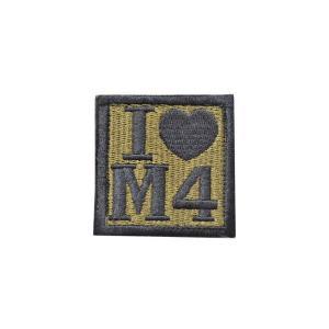 I LOVE M4 ベルクロ付き ワッペン パッチ 徽章 サバゲー オリーブドラブ OD kstacticalshop