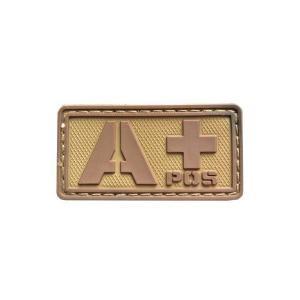 血液型 A +POS ベルクロ付き ワッペン パッチ 徽章 サバゲー タンカラー 茶系色|kstacticalshop