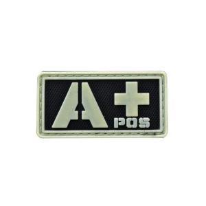 血液型 A +POS ベルクロ付き ワッペン パッチ 徽章 サバゲー 蓄光 夜間発光|kstacticalshop