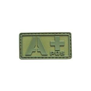 血液型 A +POS ベルクロ付き ワッペン パッチ 徽章 サバゲー オリーブドラブ OD|kstacticalshop