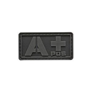 血液型 A +POS ベルクロ付き ワッペン パッチ 徽章 サバゲー ブラック 黒 黒色|kstacticalshop