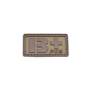 血液型 B +POS ベルクロ付き ワッペン パッチ 徽章 サバゲー タンカラー 茶色|kstacticalshop