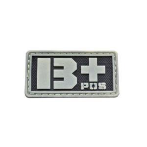血液型 B +POS ベルクロ付き ワッペン パッチ 徽章 サバゲー 蓄光|kstacticalshop