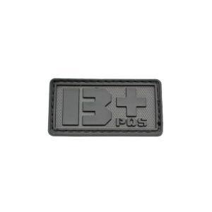 血液型 B +POS ベルクロ付き ワッペン パッチ 徽章 サバゲー ブラック 黒色|kstacticalshop