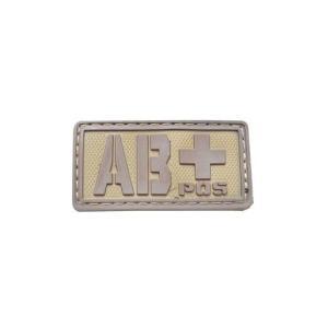 血液型 AB+ POS ベルクロ付き ワッペン パッチ 徽章 サバゲー タンカラー 茶色|kstacticalshop