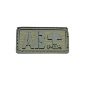 血液型 AB+ POS ベルクロ付き ワッペン パッチ 徽章 サバゲー オリーブドラブ OD|kstacticalshop
