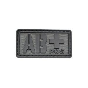 血液型 AB+ POS ベルクロ付き ワッペン パッチ 徽章 サバゲー ブラック 黒色|kstacticalshop