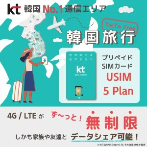 韓国 3日(72時間 3泊4日用)KT正規品/4G-LTE データ通信/完全無制限/プリペイドSIM...