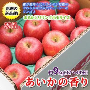[ポイント 5倍] あいかの香り 長野県産 約9kg32〜44玉 まるかじりリンゴ 小玉サイズ 特秀 送料無料
