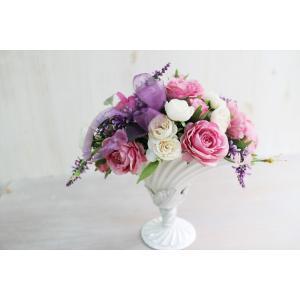 パープル&ピンクのアートフラワー (造花) | フラワーギフト フラワーインテリア 部屋の彩り おしゃれ 記念日 祝い プレゼント シーズン品|kugelfg