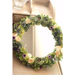 ナチュラルフラワーミラー アートフラワー(造花) | 壁掛け 鏡 フラワーギフト フラワーインテリア 部屋の彩り 記念日 お祝い プレゼント|kugelfg