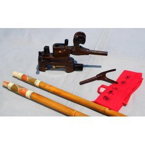 天然竹竿掛け2本もの + コクタン製大砲万力セット|kujirafc