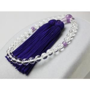 女性用高級念珠・数珠 切子水晶 128面カット 藤雲石仕立 33珠 正絹頭付房 KL041