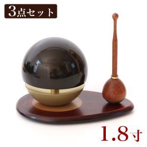 たまゆらりん うるみ 1.8寸 3点セット(本体+リン棒+りん台)クロ お鈴 おりん リン kumada