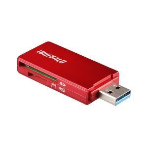 iBUFFALO USB3.0 microSDSDカード専用カードリーダー レッド BSCR27U3...