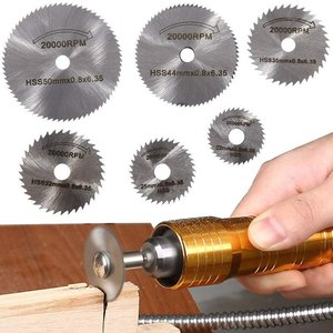 スリッターブレード 6枚入りセット 鋸刃 切断鋸 超硬丸鋸刃HSS鋼 砥石(銀色)|kumagayashop