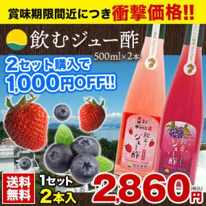 飲むジュー酢 2本入(500ml×2)  2セットで1,000円OFF 熊本 ゆうべに苺 ブルーベリー  1-5営業日以内に出荷予定(土日祝日除く) kumamotofood