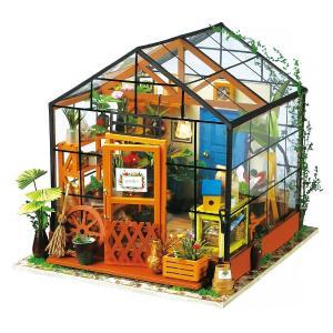 送料無料 ドールハウス手作りキット お花がいっぱいガラスハウス  おしゃれなお店 付属LEDライト(...