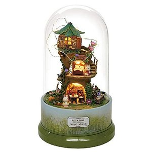 送料無料 ドールハウス 手作りキット 360度回転オルゴール付き The Forest Whim(森...