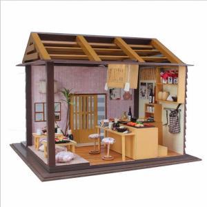 ミニチュア 木製 ドールハウス モデルハウス 櫻之花寿司店 ライト付き 組み立て式 …