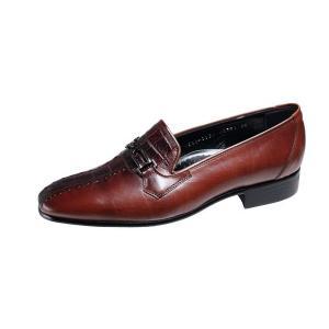 エレガンスメンズシューズ最高級な素材で作った紳士靴スリッポン982ブラウン kumamotoya