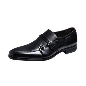 マリオバレンチノ紳士靴MARIO VALENTIBOビジネスシューズ流れスワールモカ折返しベルト付スリッポン3037ブラック|kumamotoya