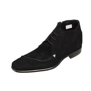 トラサルディTRUSSARDIスエードドレスブーツ10246ブラックスエード本革紳士靴ドレスブーツ|kumamotoya
