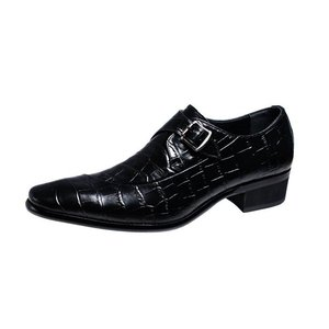 トラサルディメンズシューズTRU TRUSSARDIクロコダイル型押し牛革使用モンクストラップ紳士靴10273ブラック|kumamotoya