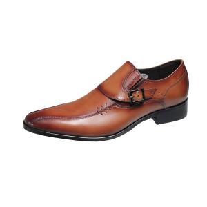 メンズビジネスシューズスワールモカスリッポン紳士靴4005ブラウン|kumamotoya